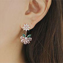 48073耳钉式, 植物, 平面/立体几何图形花 叶子