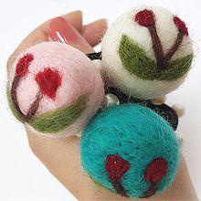 毛线球樱桃问发绳48099发圈发绳, 植物樱桃 圆形 毛球