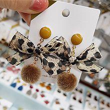 48201耳钉式, 蝴蝶结, 平面/立体几何图形毛球 蝴蝶结 豹纹 圆形