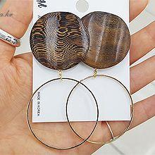 48266耳钉式, 平面/立体几何图形木头 圆形 圆环