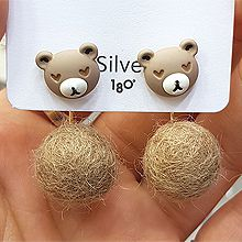 48288耳钉式, 心形, 动物心形 熊 兔子 毛球 圆形 后挂式