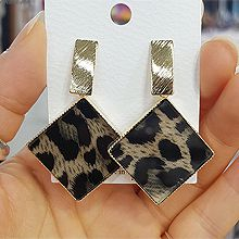 48296耳钉式, 平面/立体几何图形菱形 豹纹 长方形