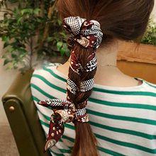 48248发圈发绳绳子 花 圆形 花纹 千鸟格 飘带