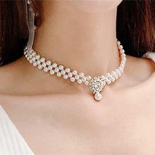 宴会气质项链锁骨链48089穿珠链, 单层链水滴形 珠子