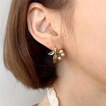 49339耳钉式, 植物树叶 珠子