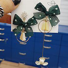 49362耳钉式, 蝴蝶结, 植物, 平面/立体几何图形蝴蝶结 珠子 圆形 不对称 圆环 花
