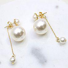 49365耳钉式, 平面/立体几何图形圆形 后挂式 珠子