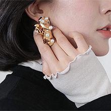 49373耳钉式, 植物, 平面/立体几何图形花  圆形 珠子