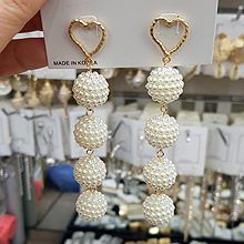 49383耳钉式, 心形心形 圆形 珠子
