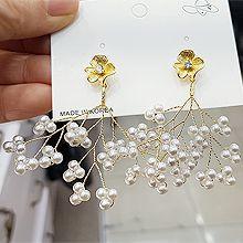 49384耳钉式, 植物, 平面/立体几何图形花 树枝 珠子 圆形