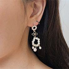 49423耳钉式, 植物, 平面/立体几何图形花 圆形 珠子