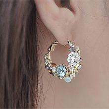 49459耳钉式, 耳圈耳扣, 植物, 平面/立体几何图形圆形 圆环 花
