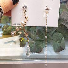 49515耳钉式, 植物花 不对称 水滴形 珠子 正方形