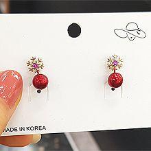 51558耳钉式, 天体自然现象雪花 圣诞 珠子 珍珠