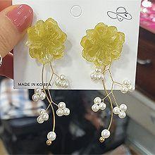 51581耳钉式, 植物花 S形 珍珠 珠子