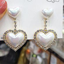 51591耳钉式, 心形心形 珠子 珍珠