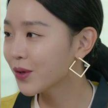 51621耳钉式菱形 整件925银 明星款 申惠善 韩剧 《仅一次的爱情》