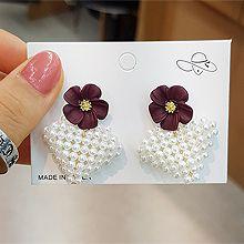 51623耳钉式, 心形, 植物花 珍珠 心形 圆形 珠子
