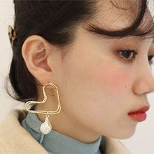 51650耳钉式, 心形心形 珠子 珍珠