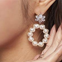 51708耳钉式, 植物花 珍珠 珠子
