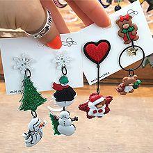 51757耳钉式, 心形, 植物, 动物心形 圆环 雪人 松树 熊 不对称 圣诞 雪花