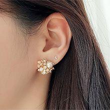 51765耳钉式, 耳夹花 珍珠 圆形 珠子