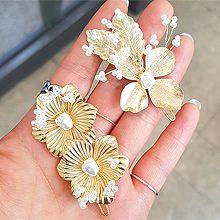 51746边夹顶夹, 植物花 叶子 珍珠 珠子 一字扣