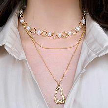 51611锁链形, 多层链两件套 双层 珍珠 珠子 圆环 椭圆形