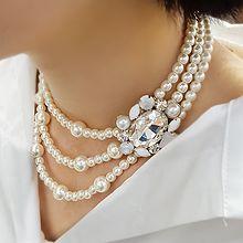 51736穿珠链, 多层链珠子 珍珠 三层 椭圆形 正方形