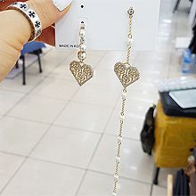 51810耳钉式, 耳圈耳扣, 心形不对称 珠子 珍珠 圆形 心形