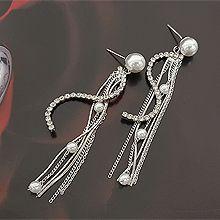 51828耳钉式流苏 圆形 珠子 珍珠 s形