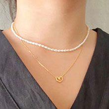51846锁链形, 珠仔链, 单层链, 心形圆形 珠子 珍珠 心形 双层 两件套