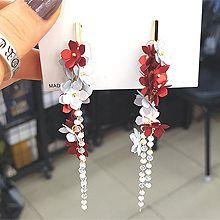 51852耳钉式, 植物花 长方形 流苏 珠子 亮片