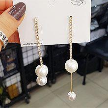 51854耳钉式圆形 珠子 珍珠 不对称