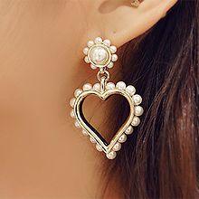 51869耳钉式, 心形心形 珠子 珍珠