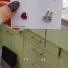 51896钩形, 耳钉式, 心形, 天体自然现象, 动物星星 不对称 兔子 心形 珠子 珍珠 后挂式