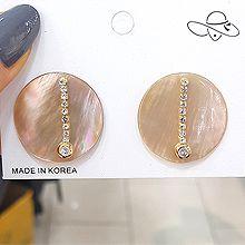 51902耳钉式天然贝壳 圆形