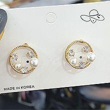 51906耳钉式, 心形心形 圆形 珍珠 珠子 雪花 圣诞