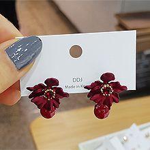 51918耳钉式, 植物花 珠子 圆形 后挂式