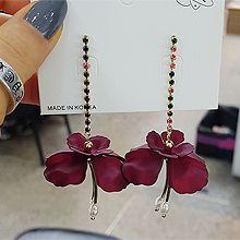 51922耳钉式, 植物花 珠子 圆形 珍珠