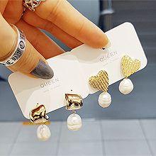 51929耳钉式, 心形珠子 圆形 珍珠 心形