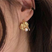 51948耳钉式, 植物叶子 珍珠 珠子
