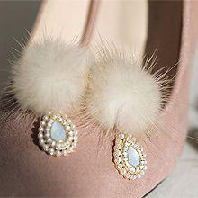 51950耳钉式水滴形 毛球 珍珠 珠子