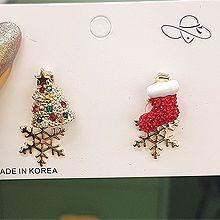 51953耳钉式, 植物雪花 松树 袜子 圣诞 后挂式 不对称