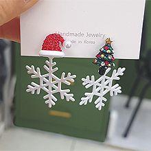 51959耳钉式, 植物雪花 后挂式 不对称 帽子 松树 圣诞 珍珠 珠子