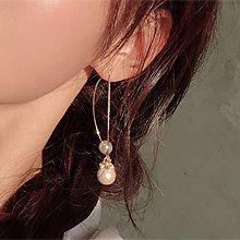 51965耳钉式圆形 珍珠 珠子 耳线 后挂式