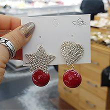 51975耳钉式, 心形, 天体自然现象珍珠 珠子 圆形 星星 心形 后挂式 不对称