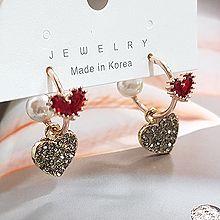 51982耳钉式, 心形心形 珍珠 珠子 C形