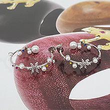 51983耳钉式, 植物珍珠 花 珠子 圆形 C形