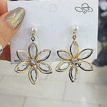 51988耳钉式, 耳圈耳扣, 植物花 珍珠 珠子 透明